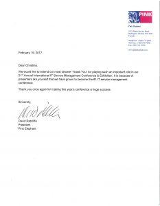 letter of participation Pink Elephant President David Ratcliffe