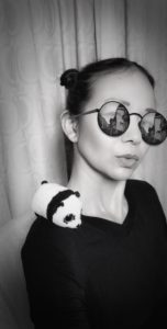 Christina Aldan Black and White Selfie with PandaPuck